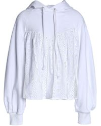 Sea - Broderie Anglaise And Tulle-paneled French Cotton-terry Hooded Sweatshirt - Lyst