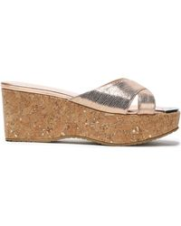 Jimmy Choo - Woman Metallic Snake-effect Leather Wedge Sandals Rose Gold - Lyst