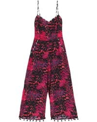 Matthew Williamson Woman Pompom-trimmed Printed Silk Top Fuchsia Size 10 Matthew Williamson Buy Cheap 2018 Sale Wholesale Price Sale Shop For Inexpensive Very Cheap Sale Online MbsGMD8
