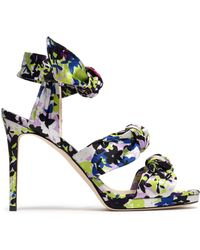 Jimmy Choo - Kris Knotted Printed Satin Sandals - Lyst