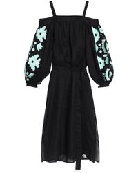 MARCH11 - Cold-shoulder Embroidered Linen Midi Dress - Lyst