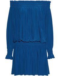 Norma Kamali - Off-the-shoulder Shirred Stretch-knit Mini Dress Cobalt Blue - Lyst