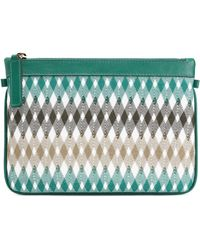 Missoni - Leather-trimmed Crochet-knit Clutch - Lyst