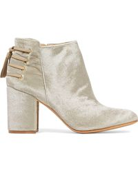 Rachel Zoe - Lace-up Leather-trimmed Velvet Ankle Boots - Lyst
