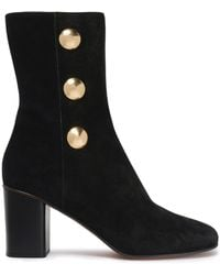 Chloé - Button-embellished Suede Ankle Boots - Lyst