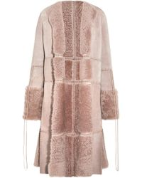 Alexander McQueen - Lace-up Leather And Shearling Coat Antique Rose - Lyst