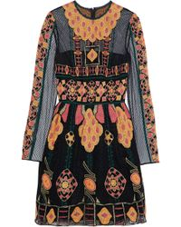 Valentino - Flared Embroidered Tulle Mini Dress - Lyst