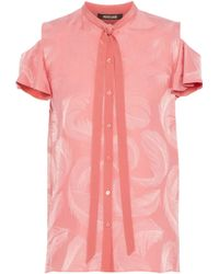 Roberto Cavalli - Cold-shoulder Pussy-bow Silk-jacquard Blouse - Lyst