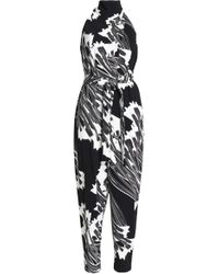 Halston - Printed Crepe Halterneck Jumpsuit - Lyst
