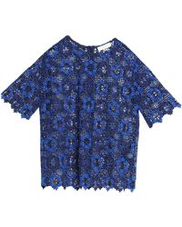 Sandro - Guipure Lace Top Royal Blue - Lyst