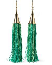 Rosantica Gold-tone Stone Tasselled Earrings - Green
