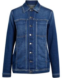 L'Agence - Faded Denim Jacket Mid Denim - Lyst