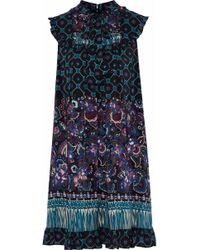 Anna Sui - Ruffle-trimmed Printed Silk Mini Dress - Lyst