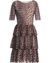 Ganni - Tiered Leopard-print Mesh Dress - Lyst