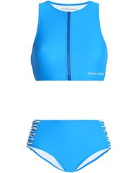 Perfect Moment - Ruched Striped-paneled Bikini Cobalt Blue - Lyst