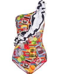 Stella Jean - Ruffle-trimmed Printed Swimsuit - Lyst