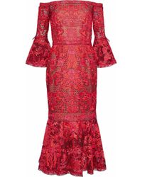 Marchesa notte - Off-the-shoulder Embroidered Tulle Midi Dress - Lyst
