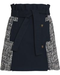 MSGM - Panelled Cotton-gabardine And Tweed Mini Skirt - Lyst