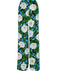 Diane von Furstenberg - Floral-print Silk Crepe De Chine Wide-leg Trousers - Lyst