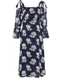 Ganni - Monette Cold-shoulder Printed Georgette Dress - Lyst