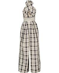 Rosie Assoulin - Artichoke Hearts Cutout Checked Cotton And Linen-blend Jumpsuit - Lyst