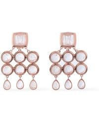 Luv Aj - Woman Rose Gold-tone Quartz Earrings Rose Gold - Lyst
