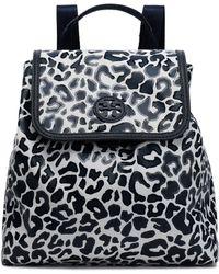 Tory Burch - Woman Leopard-print Coated Twill Backpack Animal Print - Lyst