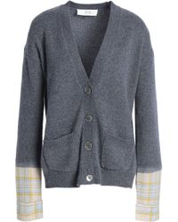 Vanessa Bruno Athé - Paneled Checked Wool-blend Cardigan - Lyst