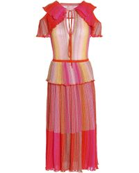 M Missoni - Cutout Ruffled Metallic Striped Crochet-knit Midi Dress - Lyst