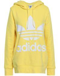 adidas Originals - Woman French Cotton-terry Sweatshirt Yellow Size 30 - Lyst