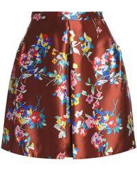 136eb049b2 Delpozo - Floral-print Silk-still Mini Skirt - Lyst