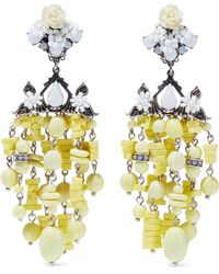 DANNIJO - Lionel Silver-plated, Bead And Crystal Clip Earrings - Lyst