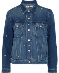 AMO - Pop Embroidered Distressed Denim Jacket - Lyst