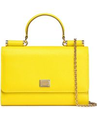 Lyst - Dolce   Gabbana Printed Leather-trimmed Woven Tote in Yellow 46b39d1b19190