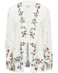 Talitha - Woman Embroidered Silk Crepe De Chine Jacket White - Lyst