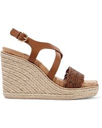 Ferragamo - Smooth And Laser-cut Leather Wedge Sandals - Lyst