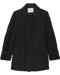 Maje - Paneled Guipure Lace And Cotton-twill Coat - Lyst