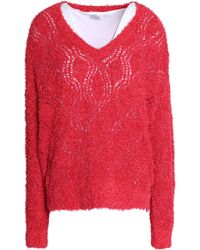 Brunello Cucinelli - Layered Pointelle-knit And Crepe De Chine Jumper - Lyst