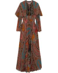 Etro - Cape Back Pleated Georgette Maxi Dress - Lyst