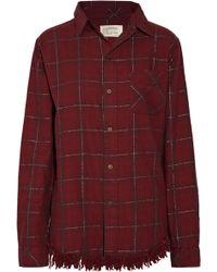 Current/Elliott - The Prep School Fringed Checked Cotton-blend Shirt - Lyst