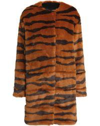 MSGM - Printed Faux Fur Coat Animal Print - Lyst