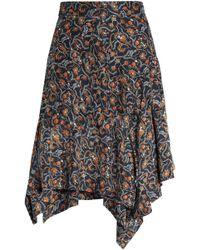 Isabel Marant - Asymmetric Printed Silk Skirt - Lyst