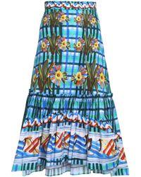 Peter Pilotto - Gathered Printed Cotton-poplin Midi Skirt - Lyst