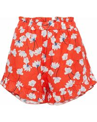Nicholas - Ruffle-trimmed Broderie Anglaise Cotton Shorts Bright Orange - Lyst