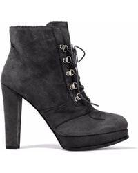 Stuart Weitzman - Saddle Suede Platform Ankle Boots - Lyst