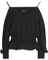 Balmain - Off-the-shoulder Gathered Cotton Top - Lyst