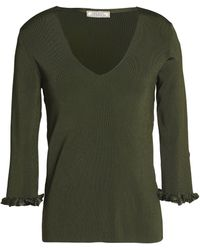 Nina Ricci - Ruffle-trimmed Cutout Ribbed-knit Sweater Army Green - Lyst