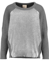 Michelle Mason - Foiled Cotton And Cashmere-blend Jumper - Lyst
