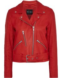 VEDA - Cal Linen-paneled Leather Biker Jacket - Lyst