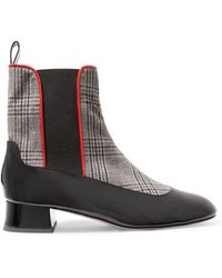 Camilla Elphick - Chelsea Girl Checked Houndstooth And Patent-leather Ankle Boots - Lyst